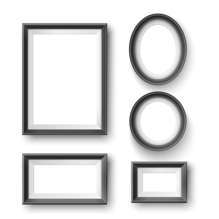 Set of modern minimalist black blank picture frame with transparent place for photo on gray wall 向量圖像