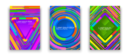 Covers with bright geometric ornament. Set of colorful banners or covers with bright geometric ornament isolated on white.