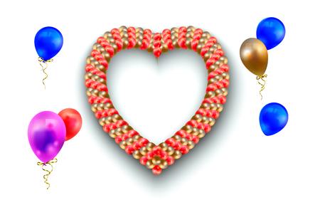Heart frame and balloons on white.  illustration of heart-shaped frame and different balloons isolated on white. 版權商用圖片