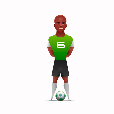 Design character. One african soccer player man playing isolated on white background.  illustration 版權商用圖片