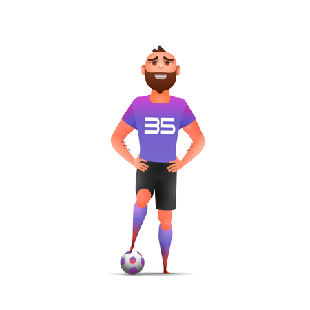 Soccer. Cool  soccer football player standing full length, isolated. Soccer player in uniforms standing with ball. Sport professional career
