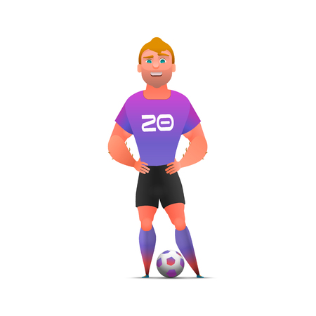 Soccer football player standing full length, isolated. Soccer player in uniforms standing with ball. Sport professional career. Cool