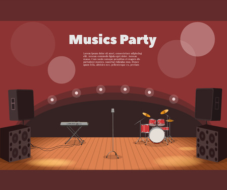 Stage and musics party banner.  illustration of stage with instruments and music party banner.