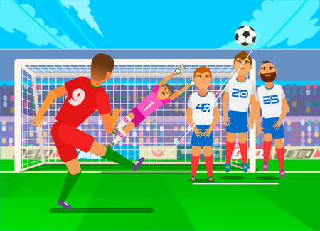 Free kick in football. Scene of the game situation in football. National teams in the championship. Vector illustration