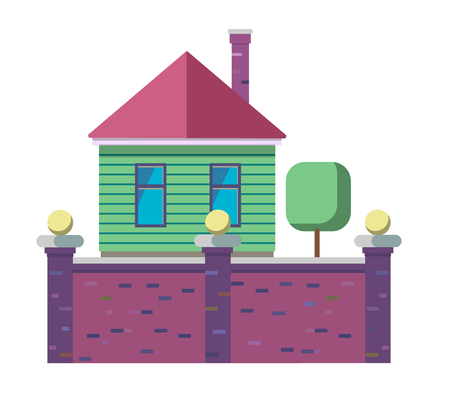 The exterior of the Family house stylized in flat. Isolated vector illustration 向量圖像