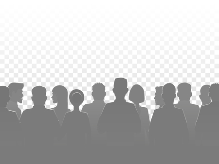 silhouette people, group crowd silhouettes 向量圖像