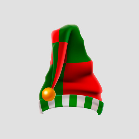 Realistic elf hat isolated on white background