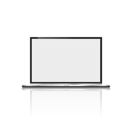 Realistic laptop, isolated on white background. computer notebook with empty screen. blank copy space on modern mobile computer. 版權商用圖片