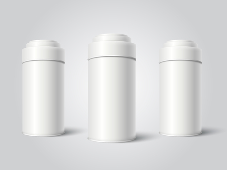 Three White Blank Tin can packaging mockup