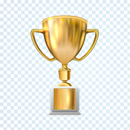 Golden trophy cup isolated on white background. Vector illustration