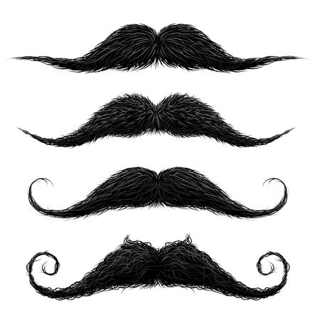 Lèvre supérieure à l'ancienne longue cire soignée et taillée de fausses moustaches définies illustration vectorielle abstraite