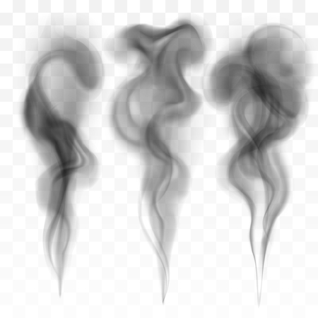 Set of digital realistic dark smoke vector illustration