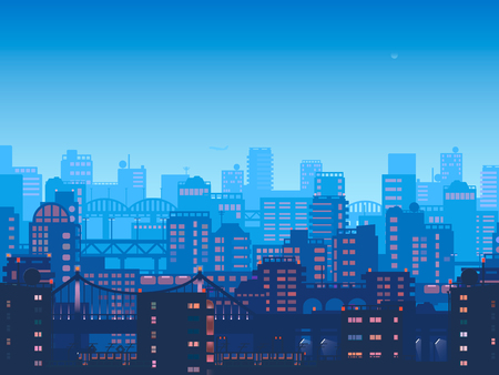 City at night.Vector town in flat style design.Panorama of the big city at night