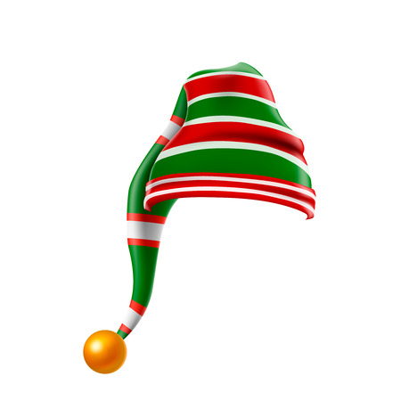 Christmas holiday hat.3D, funky red and green stripped cartoon christmas vector elf hat isolated vector, kids elf hat icon or label. 向量圖像