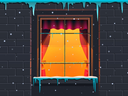Winter window in a stone house. Vector illustration