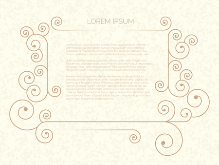 Vector illustration of small minimal frame for text on beige background