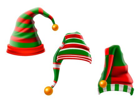 A collection of funny hats. Elf hats set isolation on white background.  illustration.