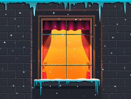 Winter window in a stone house. illustration Stock fotó
