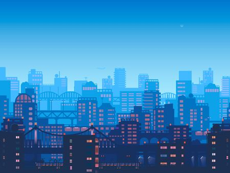 City at night. town in flat style design.Panorama of the big city at night 版權商用圖片
