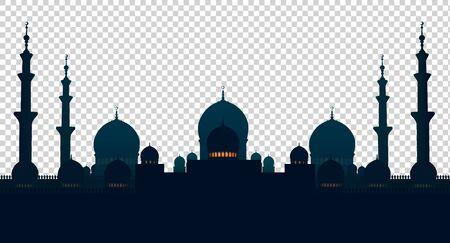 Mosque Isolated  on a checkered Illusztráció