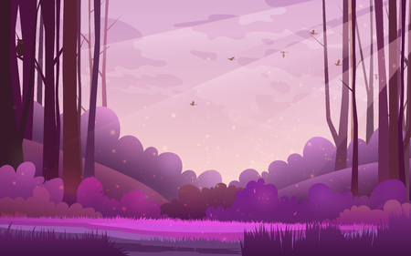 Vector illustration of woods. Pine forest landscape under a purple morning sky with birds and clouds 向量圖像