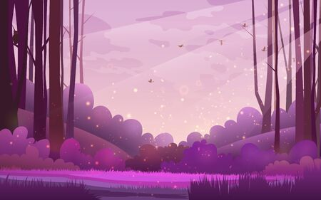 illustration of woods. Pine forest landscape under a purple morning sky with birds and clouds.