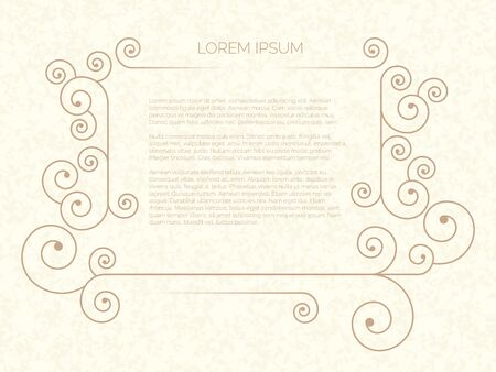 illustration of small minimal frame for text on beige background.