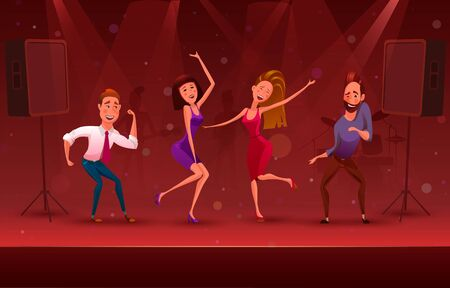 Nightclub disco party modern dancing cartoon characters. A corporate party, a fun festive banner.  illustration