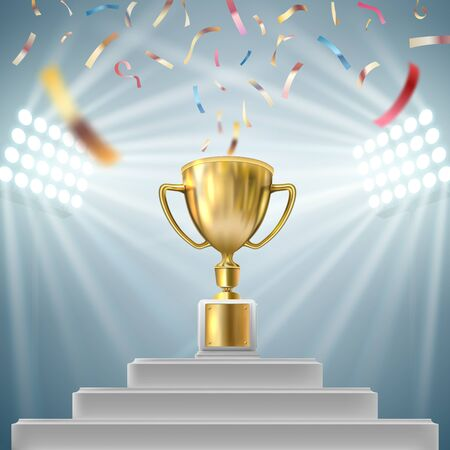 Championship trophy surrounded by falling confetti. 3d realistic  golden cup isolated on white background. Sports tournament award.
