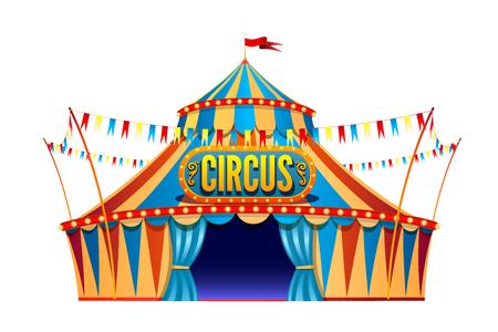 Klasyczny czerwony żółty namiot cyrkowy podróży na przezroczystym tle z ozdobnym szyldem, ozdobiony flagami na białym tle ilustracji wektorowych.