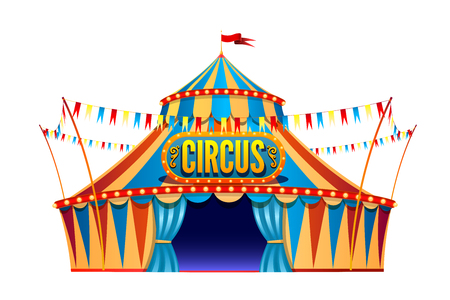 Tenda da circo di viaggio giallo rosso classico su sfondo trasparente con cartello decorativo, decorato con bandiere isolate illustrazione vettoriale.
