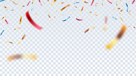 Defocused gold,red and blue confetti isolated on transparent background.Vector illustration