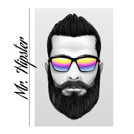 Mr... Hipster slogan. Printing black and white men with beard and mustache in sunglasses.