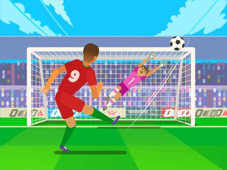 Penalty Soccer Players Defending The Gates. Sportswear flat design. Men on football stadium wearing blue boots with blue socks, green shorts. Football player kicking penalty Ilustrace