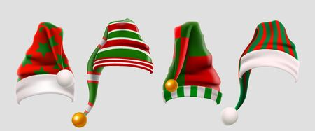 Winter Woolen Elves Hat Christmas Set. Xmas Green and Red Fur Cap Photo Booth Props for Kids. Santa Claus hat. Winter clothes. Christmas 3d realistic vector icon set. 向量圖像