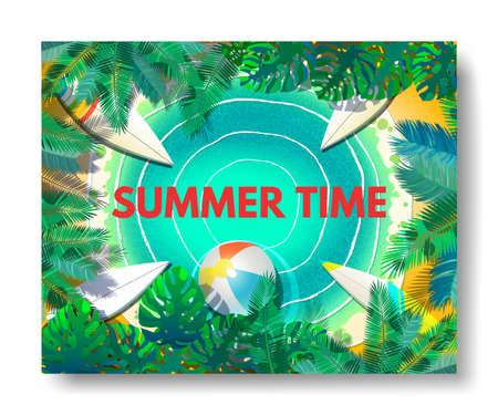illustration of Summer time poster wallpaper for fun party invitation banner template.