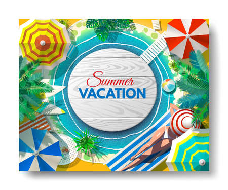 Vacation, travel, vacation Beach umbrella beach chair
