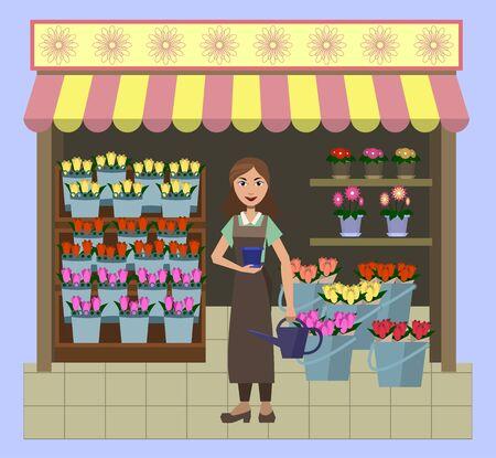 Little flower shop Illusztráció
