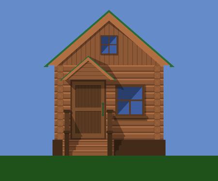 De voorgevel van een houten buitenhuis