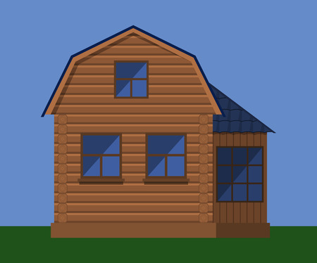 Wooden house with attic Illustration