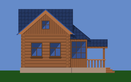 Wooden house with attic and porch Illustration