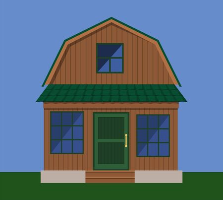 The facade of a country wooden house with a veranda Illustration