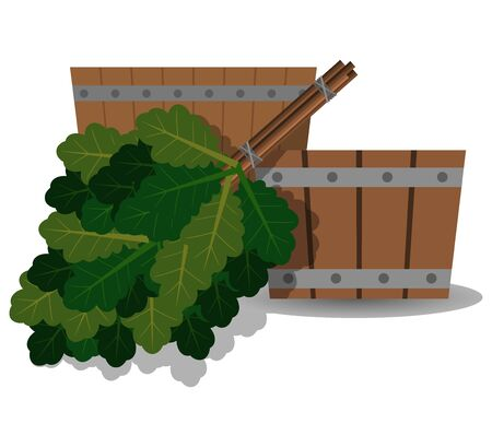 Wooden basin and oak broom for a bath illustration on white background.