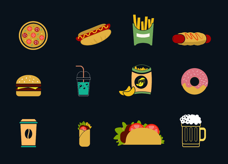 Set of colored fast food icons on a dark background