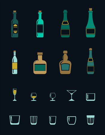 A set of colored icons of alcoholic drinks and glasses for them