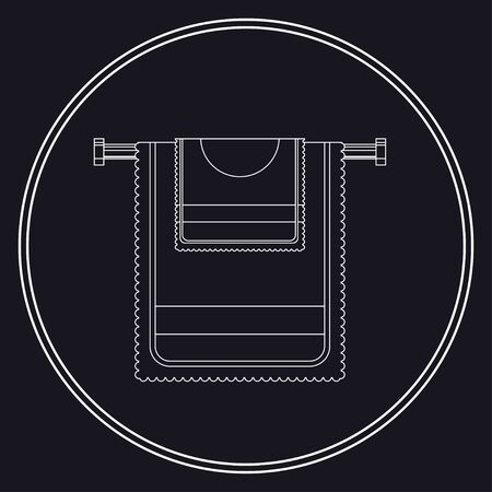 Two Towel on the heated towel rail icon thin line for web and mobile, modern minimalistic flat design. Vector white icon on dark background. 矢量图像