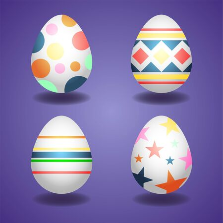 Happy Easter. Set of Easter eggs, spring holiday.