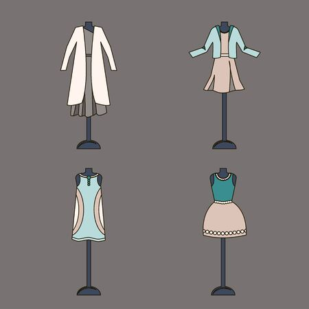 Collection of women clothing in pastel colors on a mannequin. Vector illustration.
