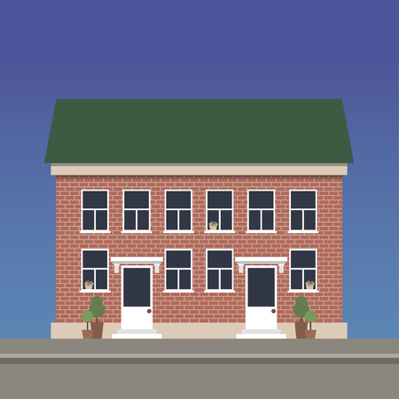 Two-story apartment house made of red brick with two entrances. Illustration