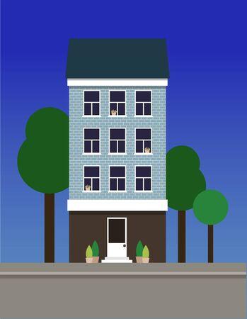 A multi-storey narrow dwelling house made of blue bricks.